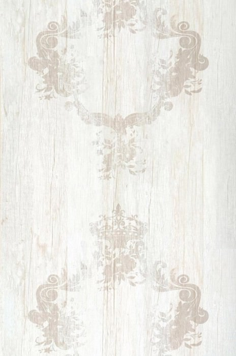 Wallpaper Vintage Matt Shabby chic Baroque damask Brown white Light ivory Light grey beige