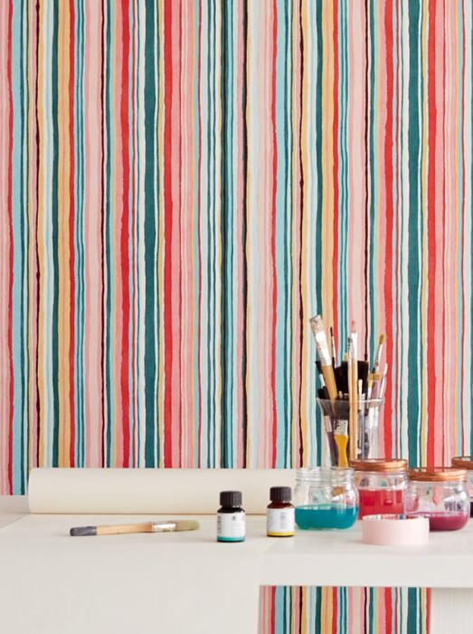 Wallpaper Zeno Matt Stripes Pastel turquoise Rose Red Sand yellow