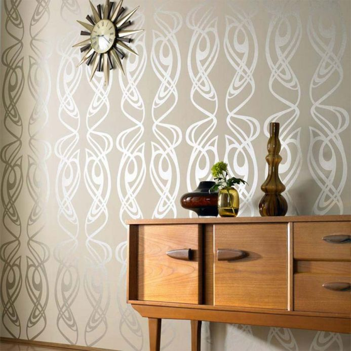 Archiv Wallpaper Balanza white gold Room View