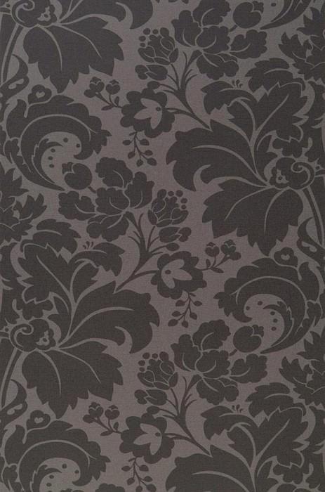 Wallpaper Faro Fine linen look Baroque damask Grey Black grey