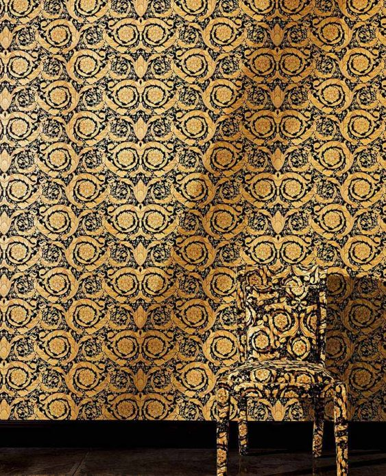 Damask Wallpaper Wallpaper Mimas gold Room View