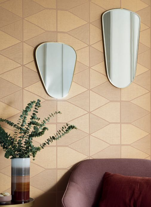 Geometric Wallpaper Wallpaper Enzo beige Room View