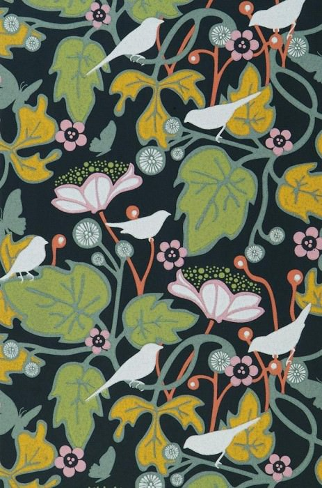 Wallpaper Labama Hand printed look Matt Leaves Blossoms Birds Black Yellow Green Green grey White