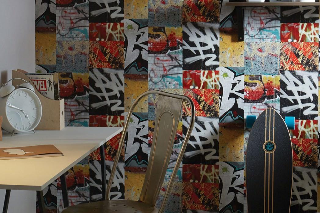 Carta da parati Berlin Graffiti Opaco Graffiti Giallo Grigio chiaro  Rosso Nero Turchese Nero