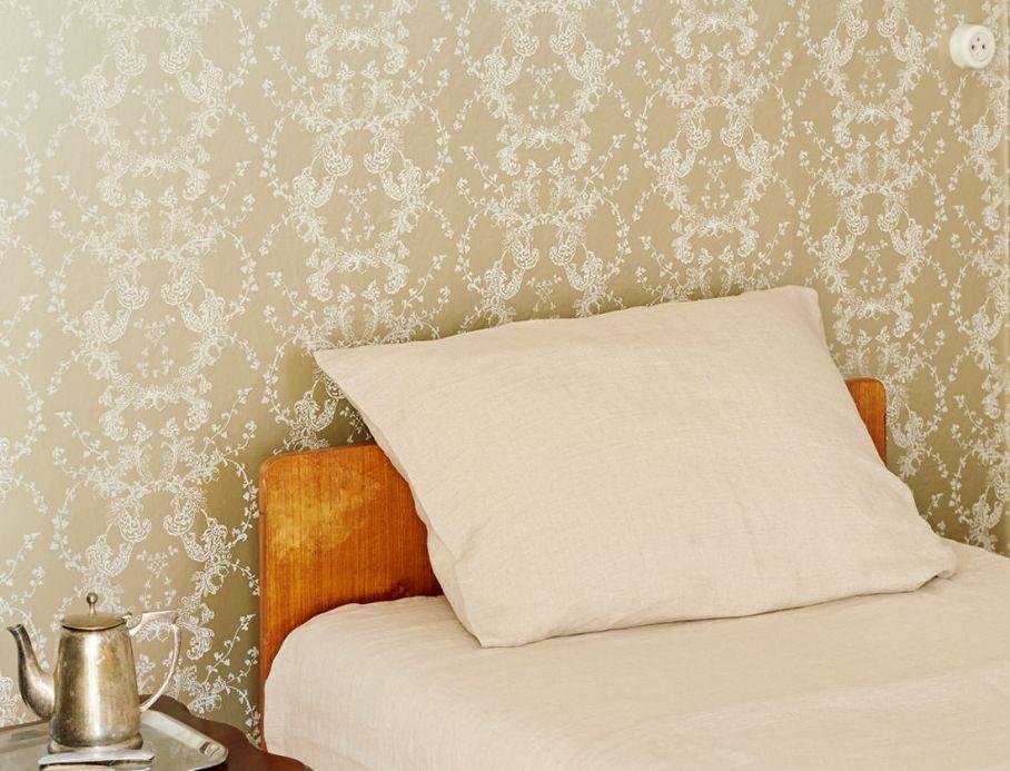 Papel pintado clásico Papel pintado Ismene beige perla Ver habitación