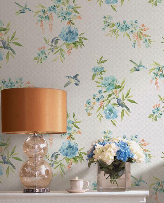 Archiv Wallpaper Sandrine pastel turquoise Room View