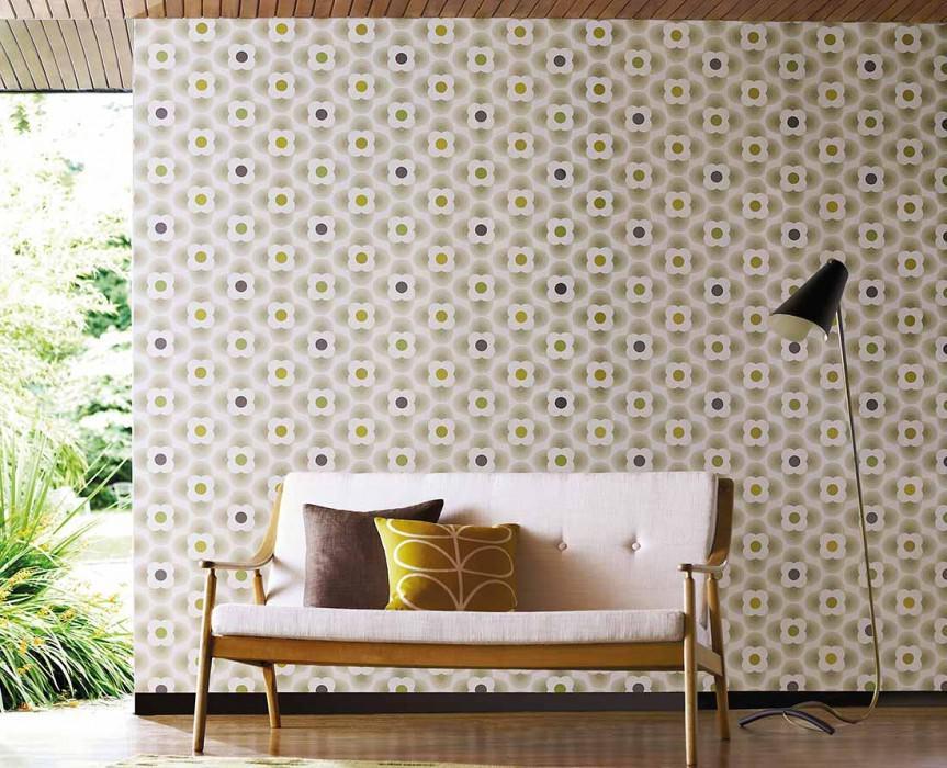 Papier peint Brahma Mat Fleurs stylisées Blanc crème Vert jaune Beige gris Vert Gris noir