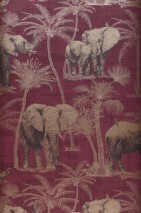 Wallpaper Raynor Matt Elephants Palm trees Birds Pale claret violet Pearl beige Black brown