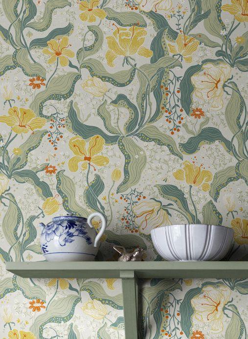 Floral Wallpaper Wallpaper Edvin lemon yellow Room View