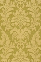 Wallpaper Marunda Matt Looks like textile Baroque damask Yellow green Green beige
