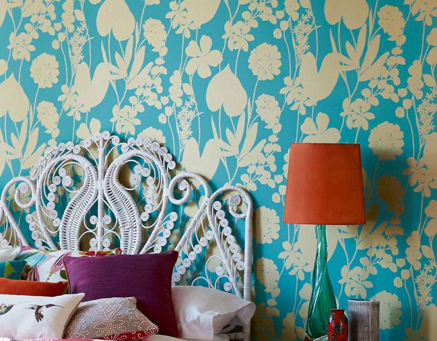 Floral Wallpaper Wallpaper Jersey turquoise Room View