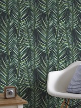 Wallpaper Meura Matt Palm fronds Anthracite grey Shades of green