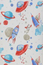 Wallpaper Luitpoldo Shimmering pattern Matt base surface Astronauts Planets Rockets Stars UFOs Cream Blue Grey beige Red Turquoise blue