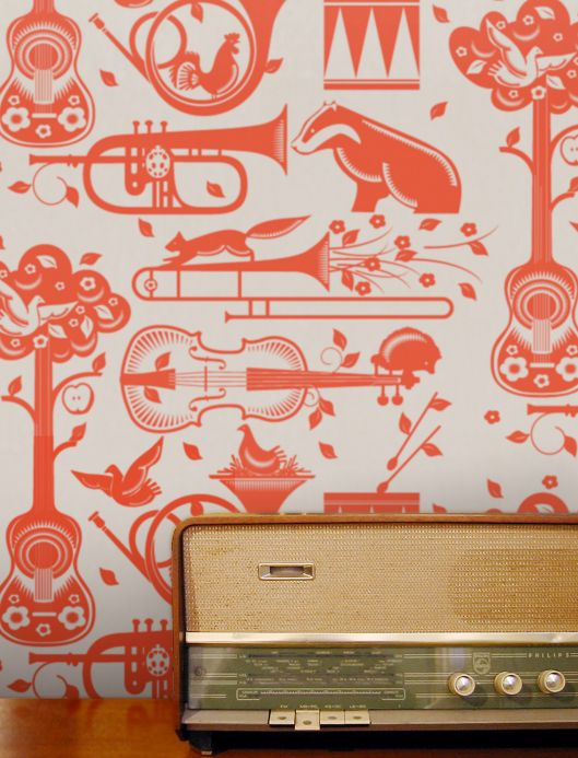 Funky wallpaper Wallpaper Aubry red orange Room View