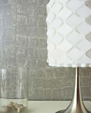 Papier peint Croco 08 gris argent Vue pièce