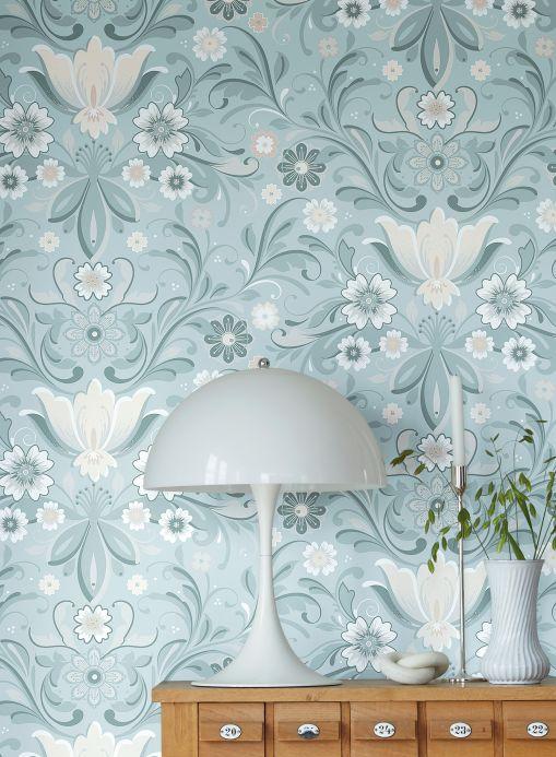 Wallpaper Wallpaper Sanna pastel turquoise Room View