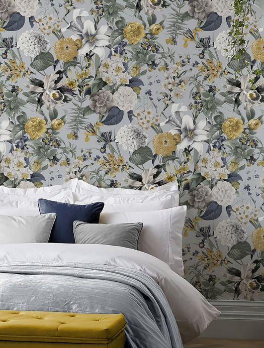 Floral Wallpaper Wallpaper Julia pale green Room View