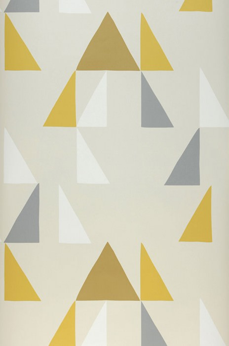 Wallpaper Deneris Matt Triangles Light ivory Cream Grey Ochre Lemon yellow
