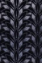 Papier peint Fadila Motif mat Surface chatoyante Art Déco Fleurs stylisées Bleu ciel Argenté brillant Bleu nuit