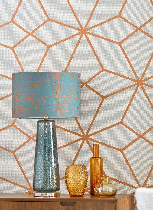 Papier peint géométrique Papier peint Kamolee brun orange Vue pièce