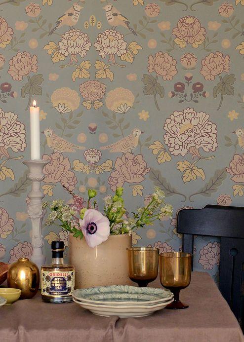 Papel pintado floral Papel pintado June verde grisáceo Ver habitación