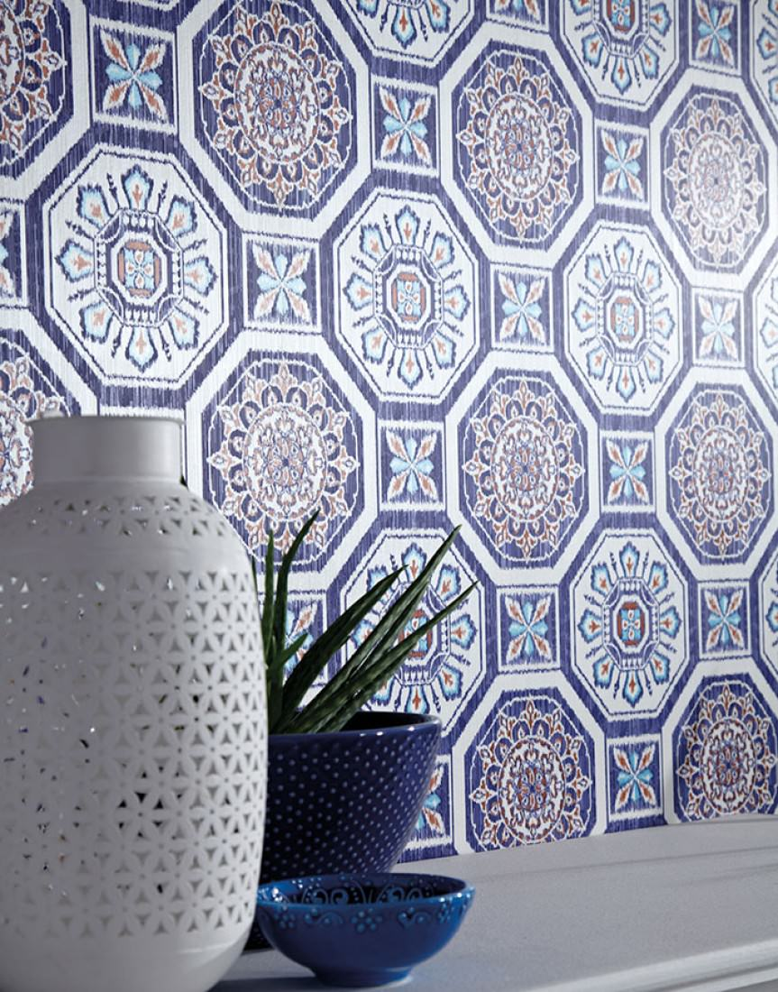 tapete hesperus cremeweiss rot t rkisblau ultramarinblau tapeten der 70er. Black Bedroom Furniture Sets. Home Design Ideas