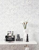 Carta da parati 3D-Blossoms Opaco Fioritura Grigio pallido Bianco crema Bianco grigiastro