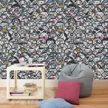 Wallpaper Umbal Matt Little Monsters White Light blue Light grey Ochre Pink Black