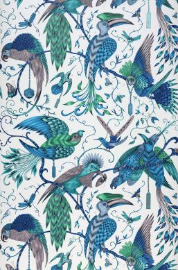 Papel de parede Audubon azul turquesa Largura do rolo