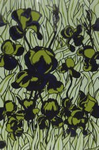 Wallpaper Iris Chrome effect Shimmering Lilies Pastel green Chrome lustre Light olive green Sapphire blue Black