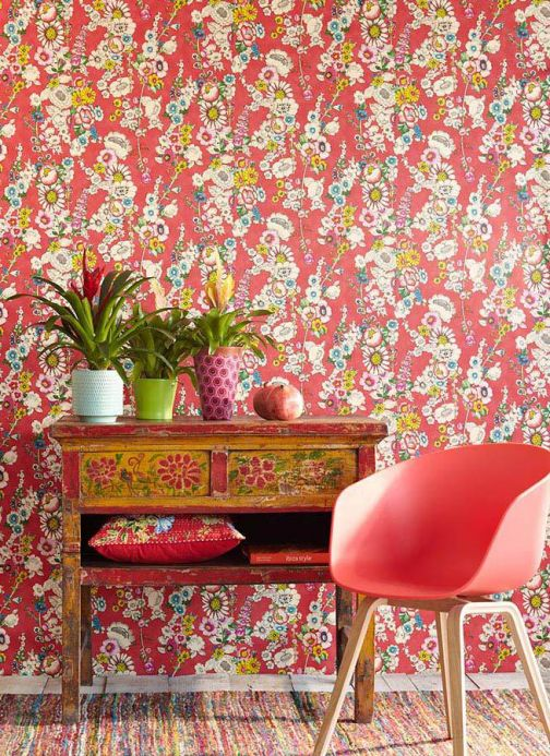 Archiv Wallpaper Megara strawberry red Room View