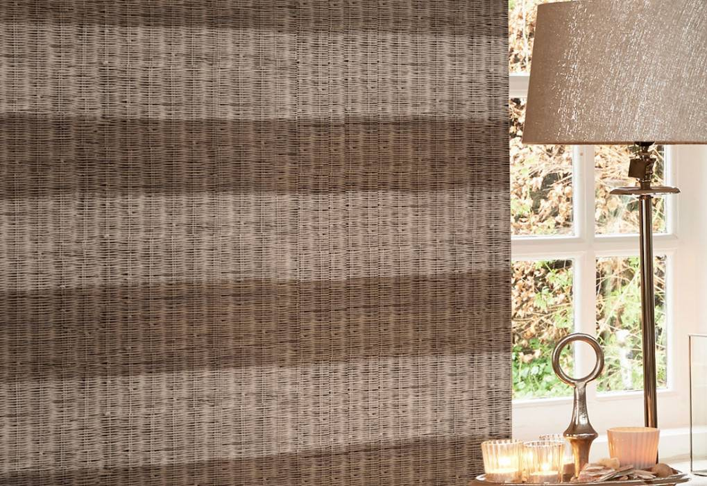 Wallpaper Rattan Chalked Matt Woven Rattan Stripes Beige grey Grey white