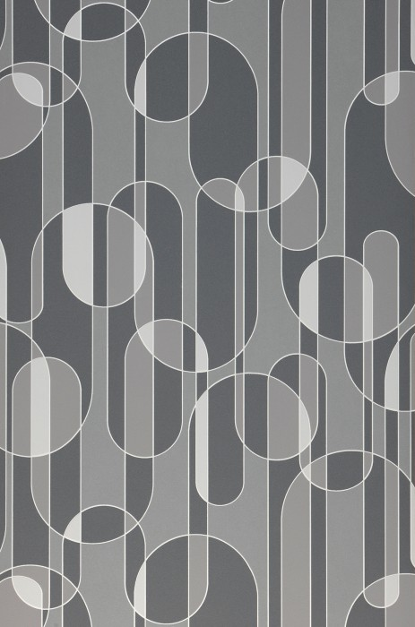 Wallpaper Asenio Matt Graphic elements White Grey tones Grey white