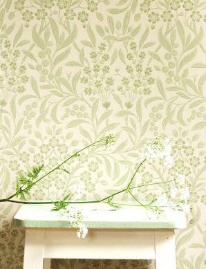 Wallpaper Geraldine pale green Room View