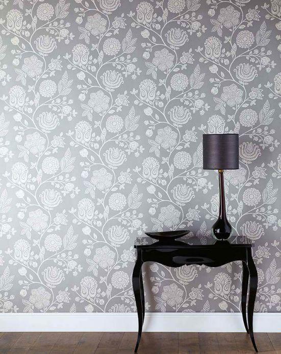 Archiv Wallpaper Macha grey white Room View