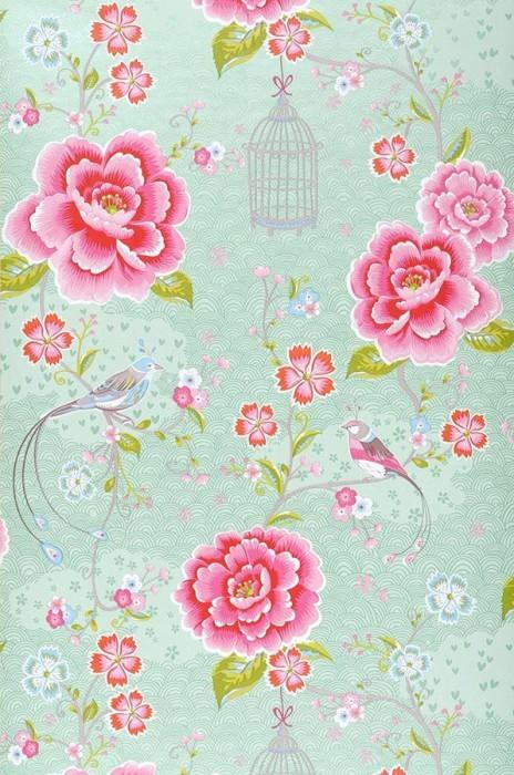 Papier peint Amina Mat Fleurs Oiseaux Cages à oiseaux Vert blanc Rouge fraise Vert jaune Rosé Blanc