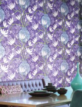 Wallpaper Habita Matt Flowers Floral Elements Vases Lilac Red purple Cream Green Light violet blue Pastel violet
