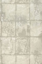 Wallpaper Marsius Matt Looks like textile Imitation glazed tiles Cream Pebble grey Moss grey