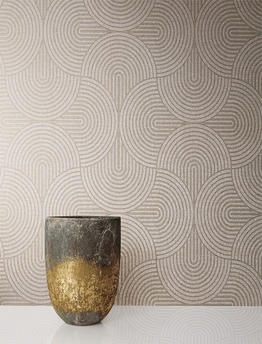 Wallpaper Mignon Matt Graphic elements Grey white Dark grey Pearl gold