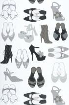 Wallpaper Dania Matt Shoes White Grey Black Silver