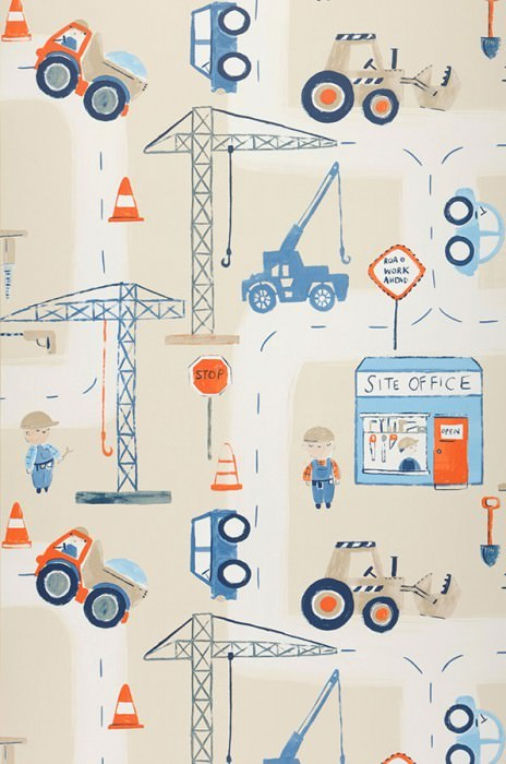 Wallpaper Construction Matt Site vehicles Toys Brown white Blue Light blue Light grey beige Orange