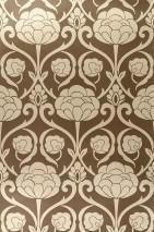 Wallpaper Damkina Shimmering Floral damask Sepia brown Gold