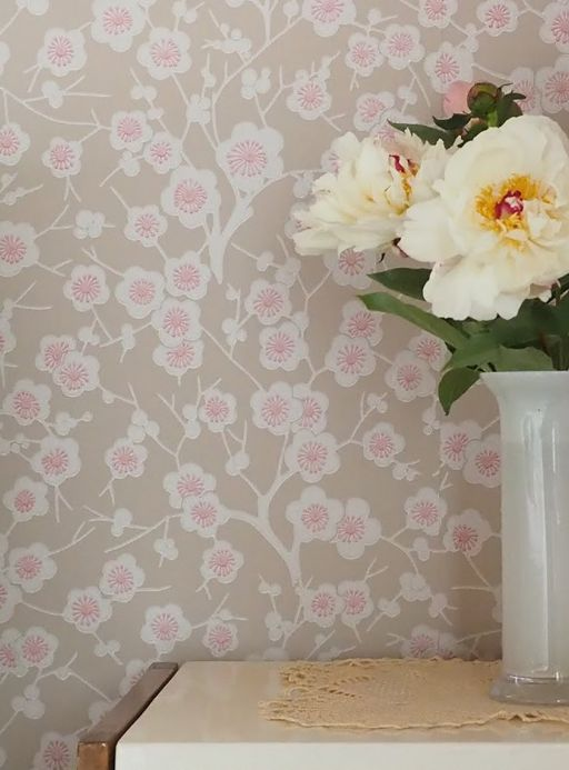 Floral Wallpaper Wallpaper Laila grey beige Room View