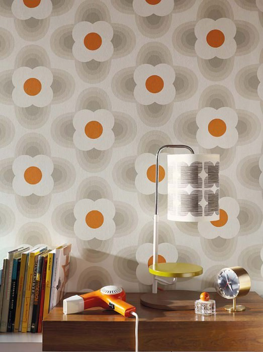 Wallpaper Selene Matt Stylised blossoms Cream Grey beige Orange