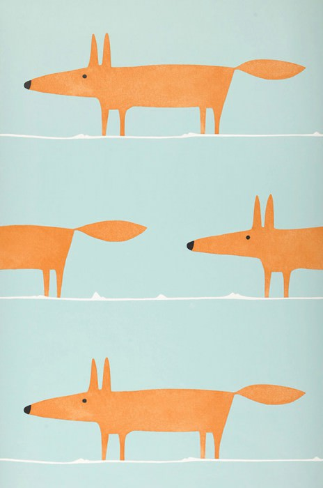 Papier peint What does the Fox say Mat Renards Turquoise pâle Orange Blanc