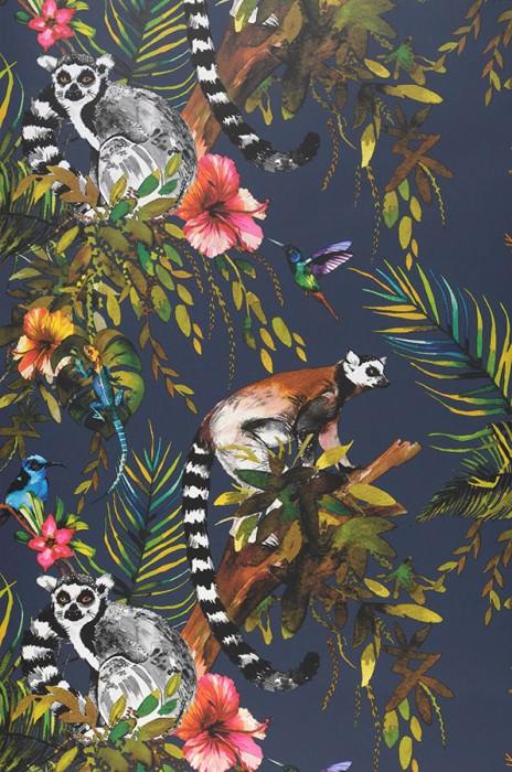 Wallpaper Madagascar Matt Monkeys Leaves Blossoms Animals Birds Steel blue Blue Brown Yellow Shades of green Rose