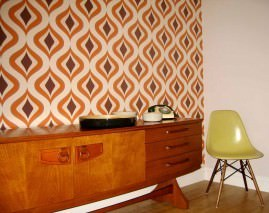 Wallpaper Triton Matt Retro ornaments Light ivory Brown Orange