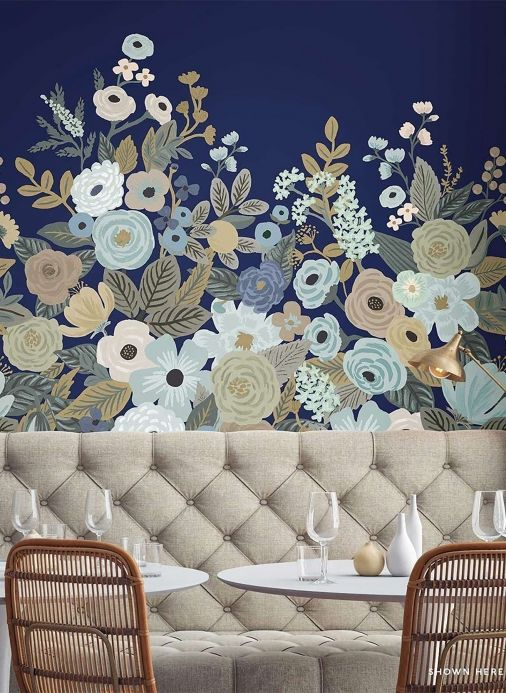 Floral Wallpaper Wall mural Flower Garden pale blue Room View