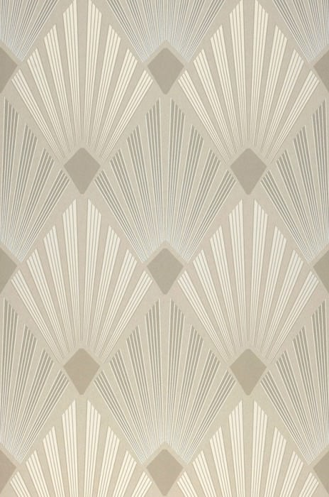 Wallpaper Pontinius Matt Art Deco Modern damask Pebble grey Cream shimmer Grey white Light beige grey