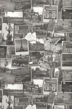 Wallpaper Memories of Paris Matt Photos Houses Tickets Anthracite grey Cream Grey white Light grey